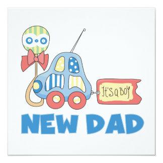 Nuevo papá del coche es regalos de un muchacho invitación 13,3 cm x 13,3cm
