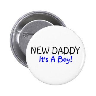 Nuevo papá su un azul del muchacho pin redondo 5 cm