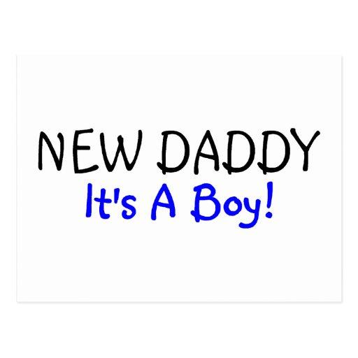 Nuevo papá su un azul del muchacho tarjeta postal