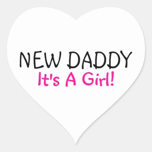 Nuevo papá su un chica calcomanías corazones personalizadas