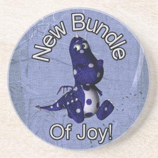 Nuevo paquete de alegría con el fondo azul del azu posavasos personalizados