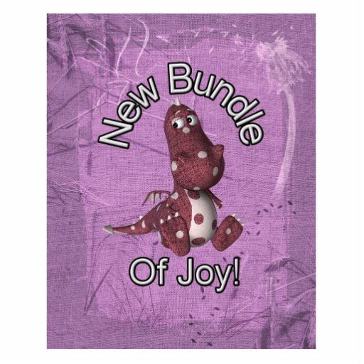 ¡Nuevo paquete de alegría! Púrpura trasera, dinosa Fotoescultura Vertical