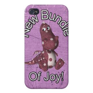 ¡Nuevo paquete de alegría! Púrpura trasera, dinosa iPhone 4 Cobertura