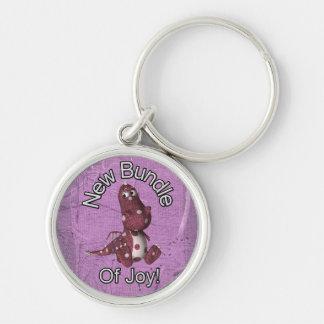¡Nuevo paquete de alegría! Púrpura trasera, dinosa Llavero Redondo Plateado