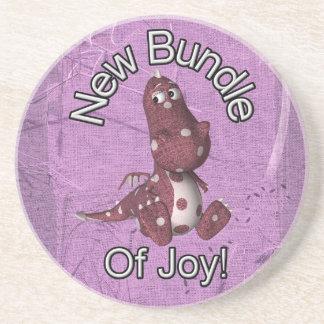 ¡Nuevo paquete de alegría! Púrpura trasera, dinosa Posavasos De Arenisca