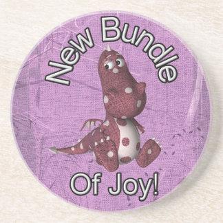 ¡Nuevo paquete de alegría! Púrpura trasera, dinosa Posavasos Diseño