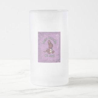 ¡Nuevo paquete de alegría! Púrpura trasera, Taza De Cristal