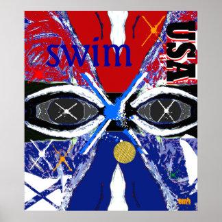 Nuevo poster grande fresco de la natación del arte