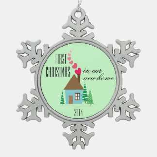 Nuevo primer navidad del dueño casero adorno de peltre en forma de copo de nieve