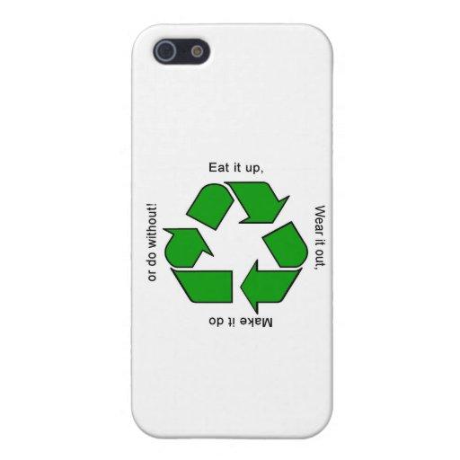 Nuevo recicle la caja del logotipo del lema iPhone 5 carcasa