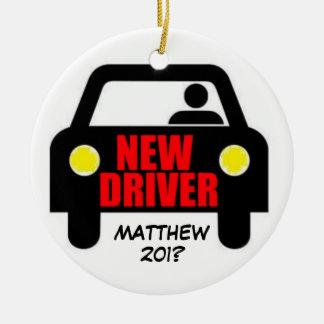 Nuevo recuerdo de la licencia de conductores adorno navideño redondo de cerámica