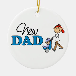 Nuevo regalo lindo del papá adorno navideño redondo de cerámica