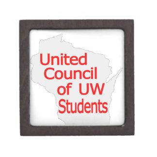 Nuevo rojo unido del logotipo del consejo en gris caja de joyas de calidad