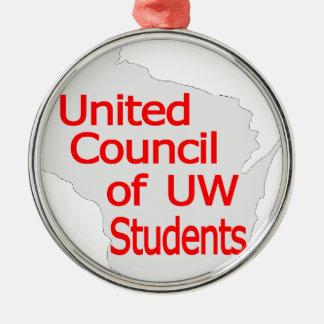 Nuevo rojo unido del logotipo del consejo en gris adornos de navidad