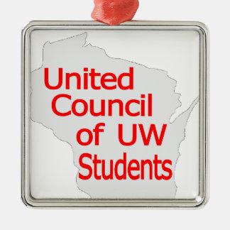 Nuevo rojo unido del logotipo del consejo en gris ornamento para arbol de navidad