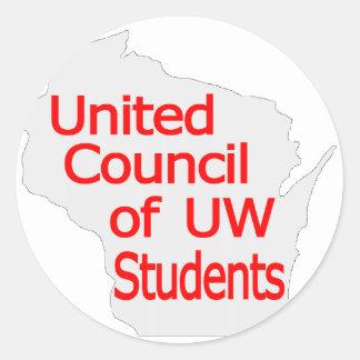 Nuevo rojo unido del logotipo del consejo en gris pegatina redonda