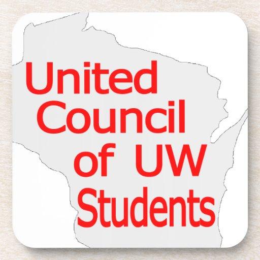 Nuevo rojo unido del logotipo del consejo en gris posavasos de bebidas