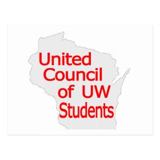 Nuevo rojo unido del logotipo del consejo en gris postales