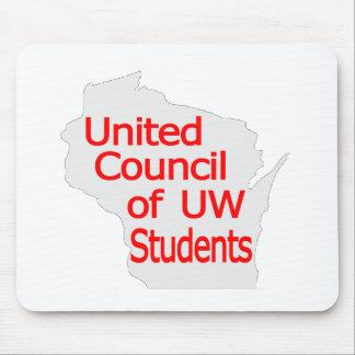 Nuevo rojo unido del logotipo del consejo en gris tapetes de raton