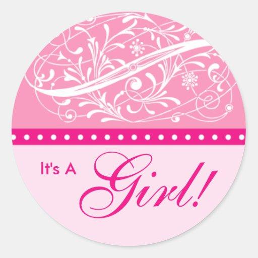 Nuevo rosa de la fiesta de bienvenida al bebé de l etiquetas redondas