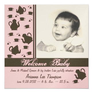 """Nuevo rosa del aviso del bebé invitación 5.25"""" x 5.25"""""""