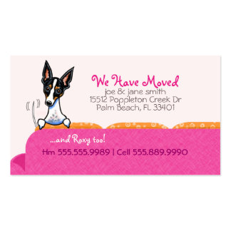 Nuevo rosa feliz del perro de la dirección de tarjetas de visita