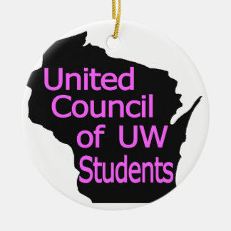 Nuevo rosa unido del logotipo del consejo en negro adorno de navidad