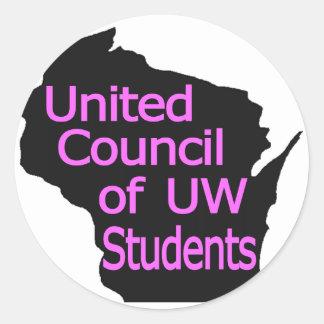 Nuevo rosa unido del logotipo del consejo en negro pegatina redonda