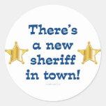 Nuevo sheriff en ciudad etiquetas redondas