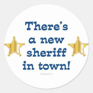 Nuevo sheriff en ciudad pegatina redonda