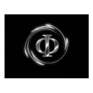 Nuevo símbolo ateo de la phi postales