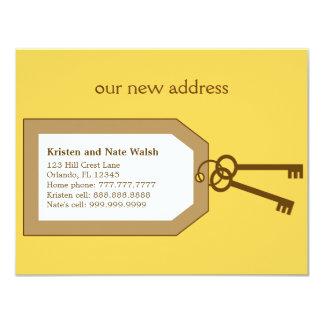Nuevo sistema de llaves que mueven la invitación invitación 10,8 x 13,9 cm