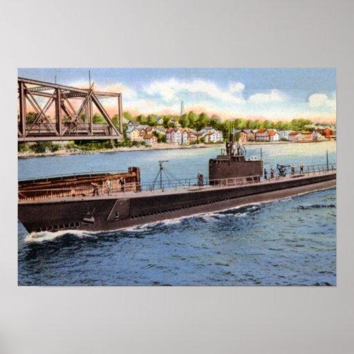 Nuevo submarino de Londres Connecticut Póster