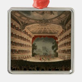 Nuevo teatro del jardín de Covent Adorno Cuadrado Plateado