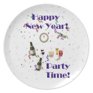 ¡Nuevo tiempo feliz del Año-Fiesta! Plato De Comida