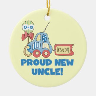 Nuevo tío orgulloso Car It es regalos de un Adorno Navideño Redondo De Cerámica