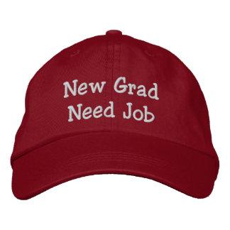 Nuevo trabajo de la necesidad del graduado gorra de beisbol