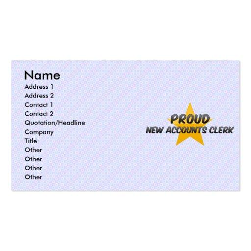 Nuevo vendedor orgulloso de las cuentas plantillas de tarjetas de visita