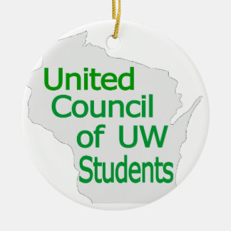 Nuevo verde unido del logotipo del consejo en gris ornamento para arbol de navidad