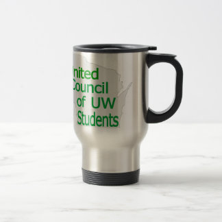 Nuevo verde unido del logotipo del consejo en gris taza de viaje de acero inoxidable