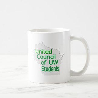 Nuevo verde unido del logotipo del consejo en gris taza básica blanca
