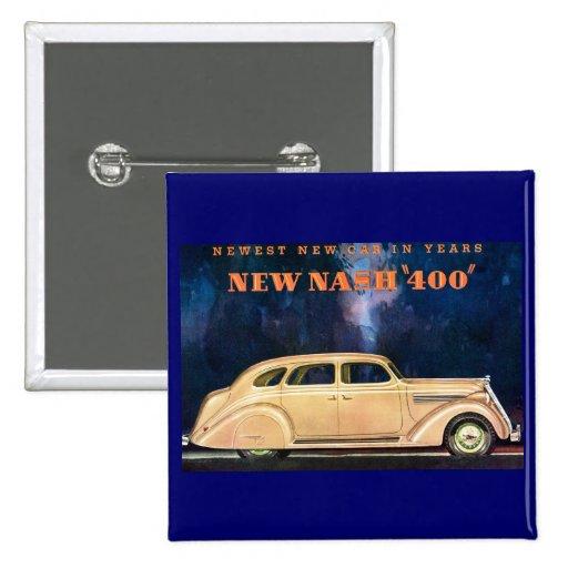 Nuevo vintage de Nash 400 - el nuevo coche más nue Pin Cuadrado