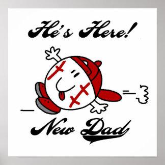 Nuevos camisetas y regalos del papá del béisbol poster