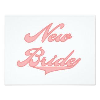Nuevos camisetas y regalos del rosa de la novia invitación 10,8 x 13,9 cm