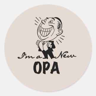 Nuevos camisetas y regalos sonrientes de Opa Pegatina Redonda