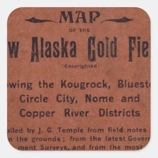 Nuevos campos del oro de Alaska Pegatina Cuadrada