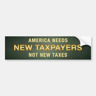 Nuevos contribuyentes, no nuevos impuestos etiqueta de parachoque