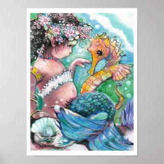 Nuevos descubrimientos, sirena y Seahorse Póster