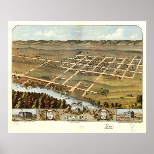 Nuevos mapa panorámico antiguo de Ulm Minnesota 18 Impresiones