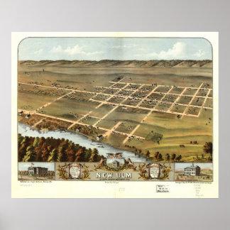 Nuevos mapa panorámico antiguo de Ulm Minnesota 18 Póster